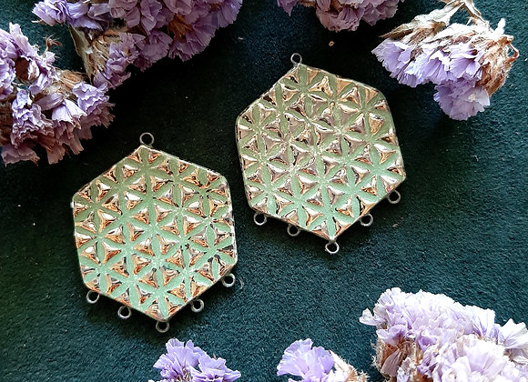 Green and Gold Flower of Life ConnectorBeads
