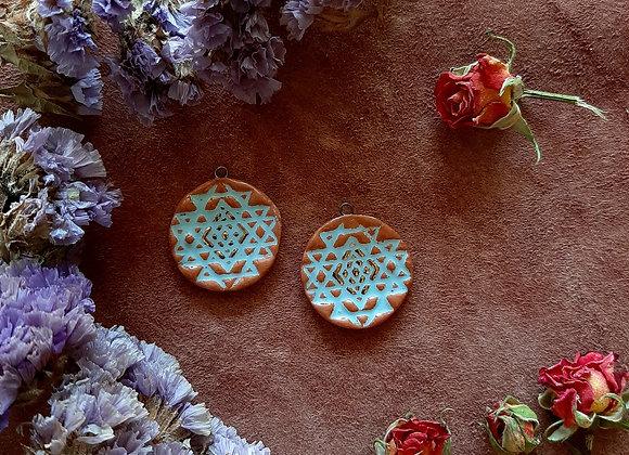 Terracota Blue and Gold Sri Yantra Beads