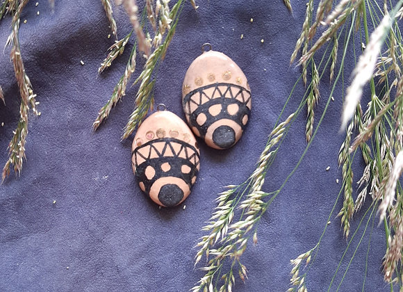 Oval Shaped, Tribal Patterned Pendant Beads