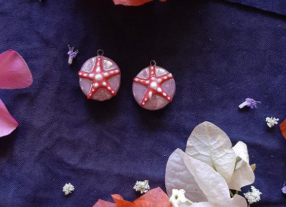 Ceramic Holographic Effect Seastar Pendant Beads