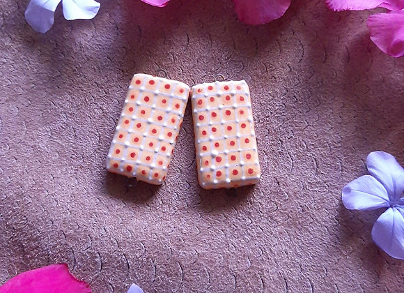 Red and White Dotted Connector Beads
