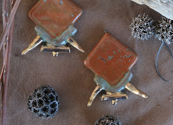 Goddess Pendant Beads with Golden Details