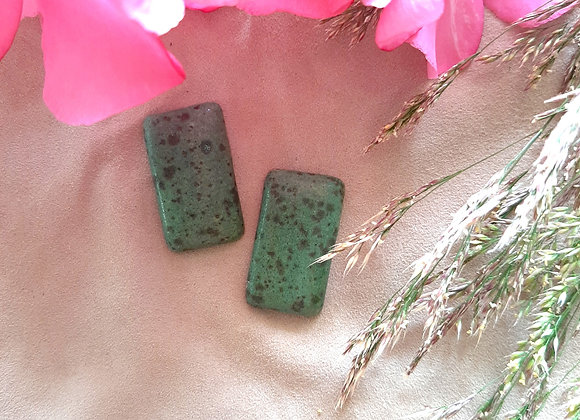 Green and Black Dotted Rectangle Cabochon Beads