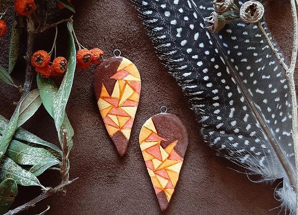 Brown, Geometric Pattern, Drop Beads