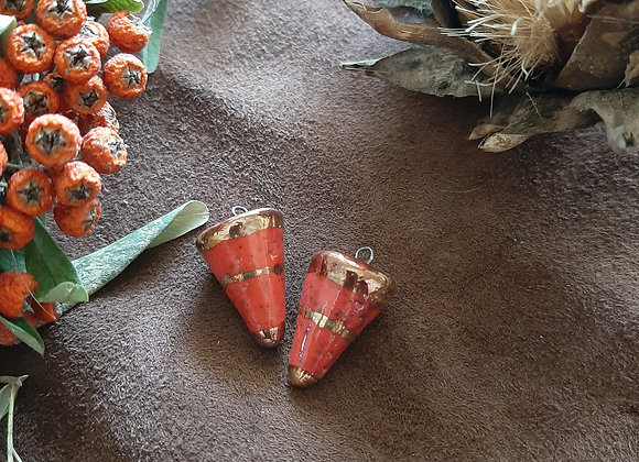 Red, Black Spotted, Gold Detailed Pendulum Beads