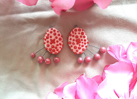Pink Oval Shaped Red Dotted Abstract Dangle Beads