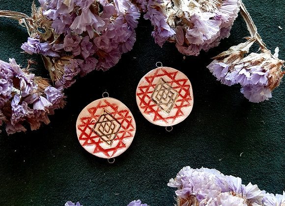 Red and Gold Sri Yantra Connectors