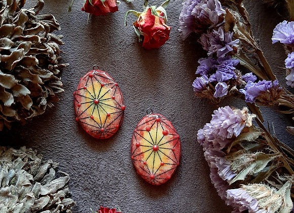 Yellow to Red Degrade Sacred Geometry Pendant Beads