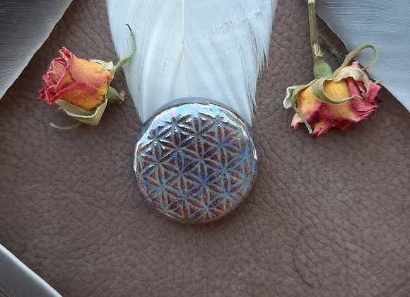 Round Holographic Effect Flower of Life Cabochon