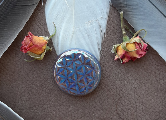 Holographic Effect Round Flower of Life Cabochon