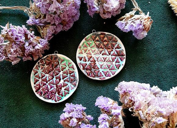 Shiny Violet Flower of Life Pendant Beads