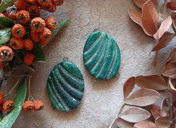 Carved, Raku Fired Connector Beads