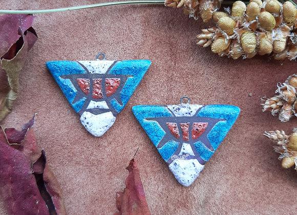Raku Fired, Sigil Patterned Triangle Beads