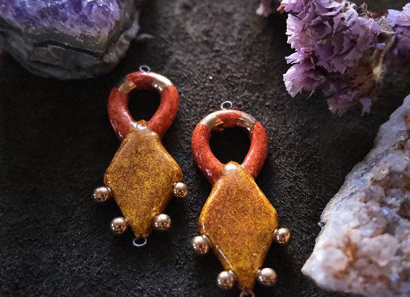 Mustard and Orange Goddess Connector Beads