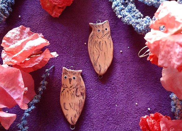 Ceramic Owl Connector Beads