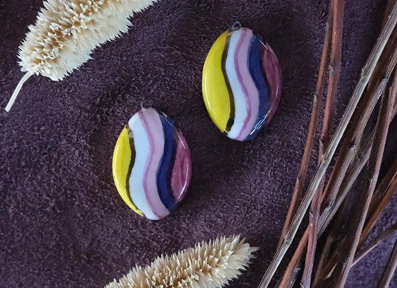 Ceramic Retro Multicolor Pendant Beads