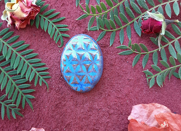 Shades of Blue Flower of Life Cabochon
