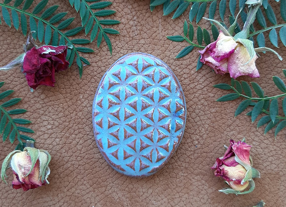 Blue and Brick Red Flower of Life Cabochon