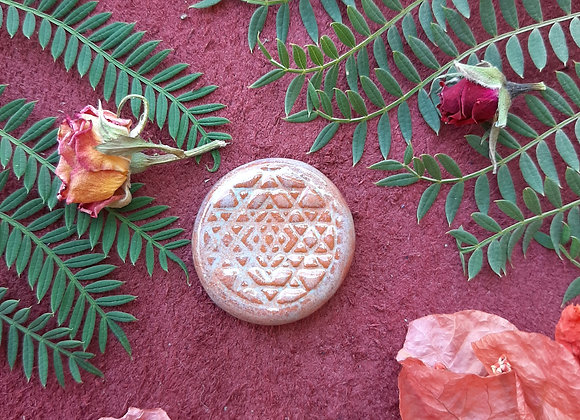 Round Terracota Sri Yantra Cabochon
