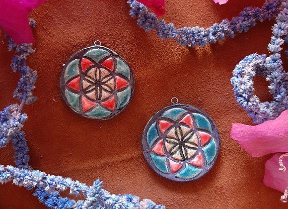 Raku Fired Multicolor Seed of Life Pendant Beads