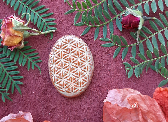 Flower of Life Brick Red and Yellow cabochon