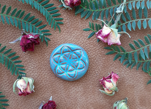 Turquoise Seed of Life Cabochon