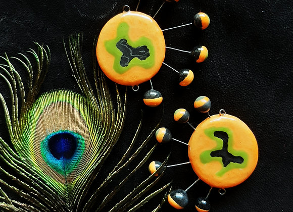 Round Shaped Neon Orange Abstract Connector Beads