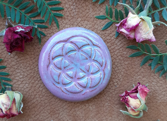 Distressed Pink Seed of Life Cabochon