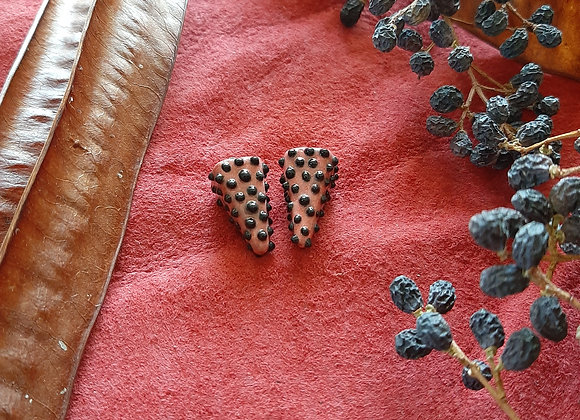 Black Spotted, Red Pendulum Beads