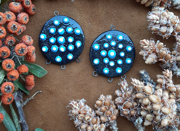 Black Blue and White Dotted Connector Beads
