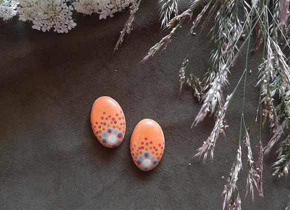 Matte Orange Oval Shaped Dotwork Cabochons