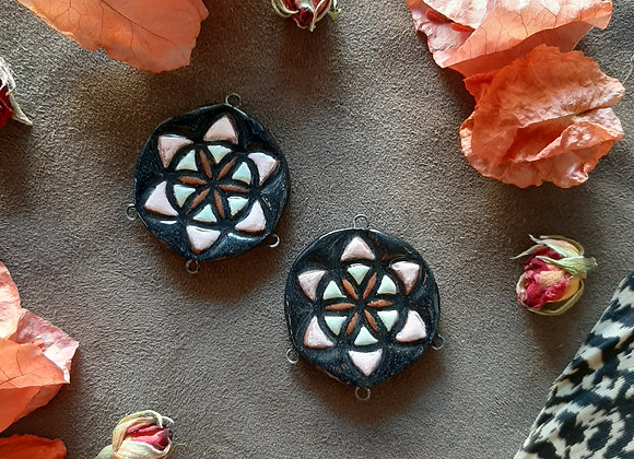 Black Seed of Life Connector Beads