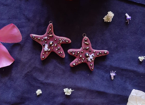 Ceramic Star Pendant Beads with 3d Dots