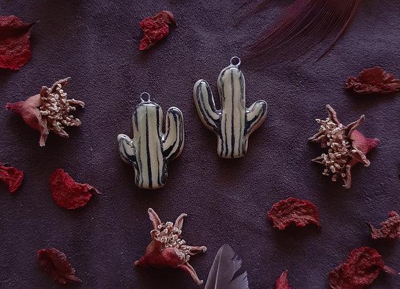 Ceramic Cactus Pendant Beads