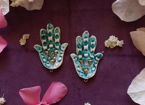 Turquoise Ceramic Hamsa Pendant Beads