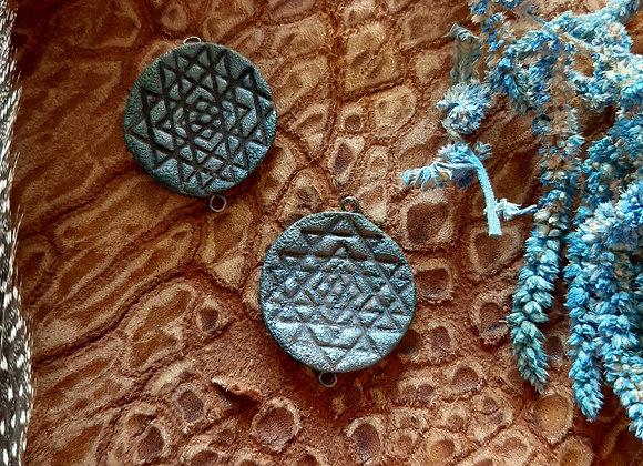 Raku Fired Sri Yantra Connector Beads