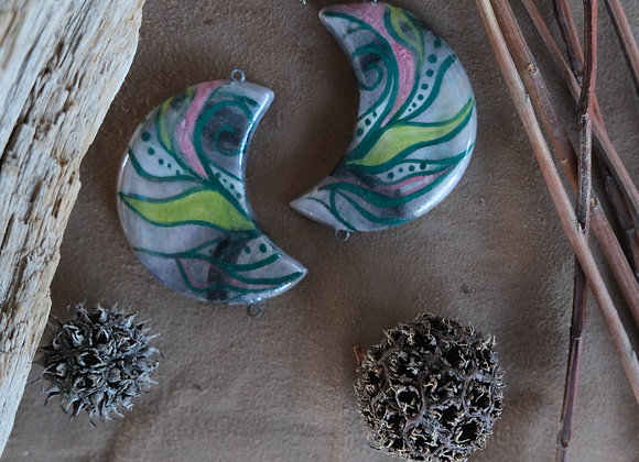 Handpainted Holographic Effect Crescent Connector Beads