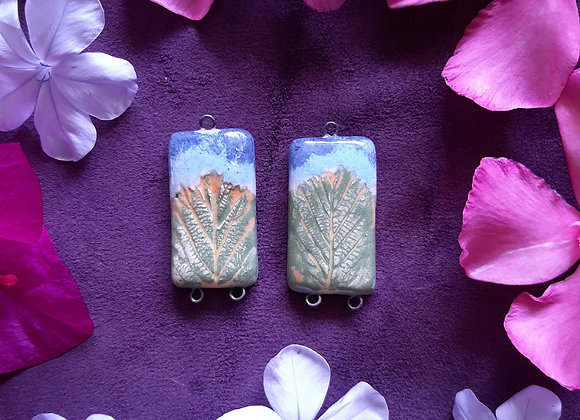 Leaf Engraved Colorful Connector Beads