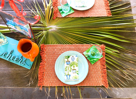 Palm Tree Patio Tablescape