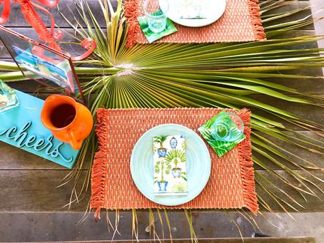 Palm Tree Patio Tablescape