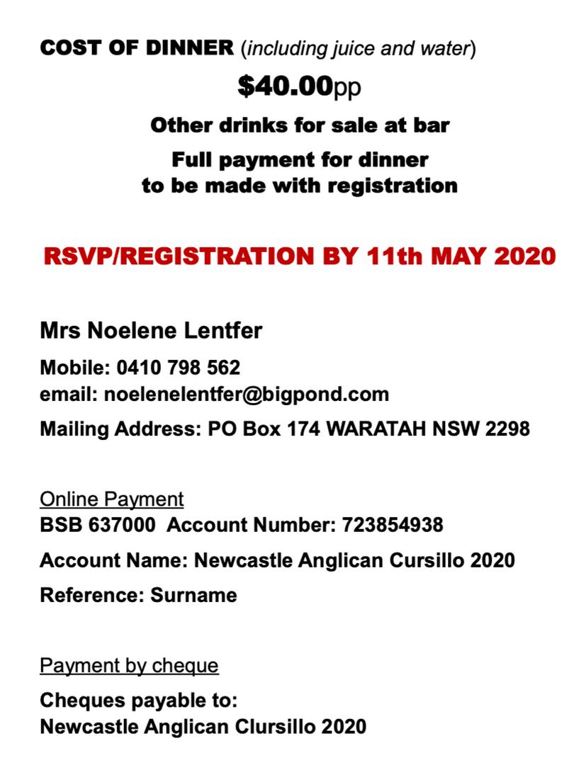 Ultreya & Gala Dinner Booking Information