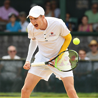 Alexander Bublik celebrates his match win at the 2019 Hall of Fame Open