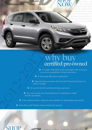 Honda CRV Certified Pre-owned blast