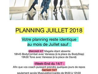 Planning Juillet