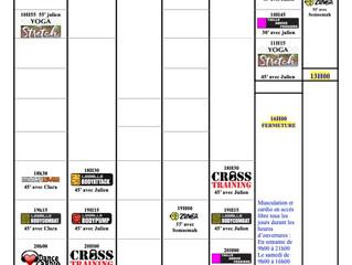 Planning du 23/8 au 29/8/2021