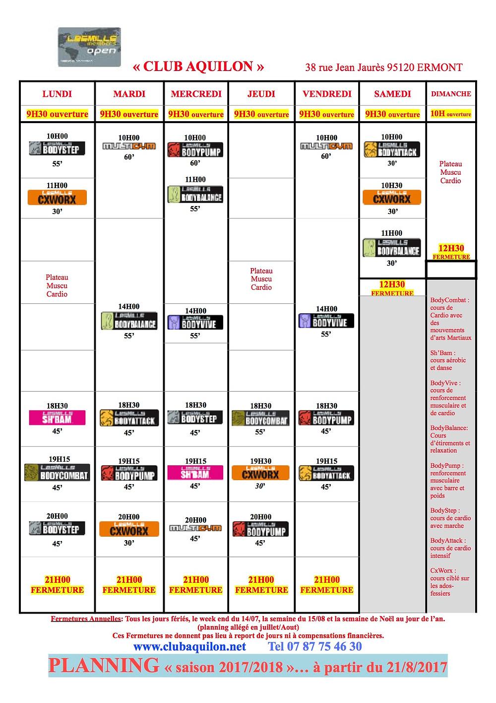 Planning saison 2017/2018 à partir du 21/8
