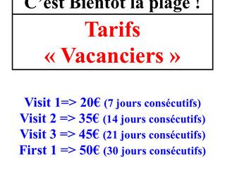 Tarifs Vacanciers