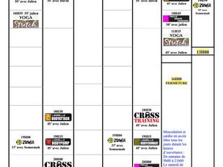 Planning du 30/8 au 5/9