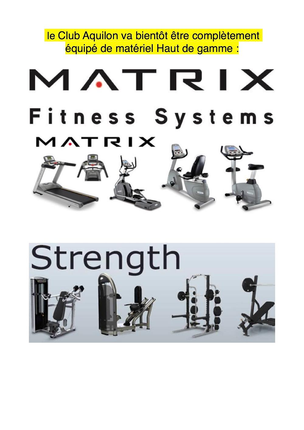 Changement de l'ensemble du matériel Cardio et Musculation fin février début mars 2017.