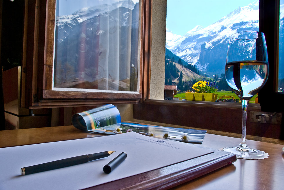 Aussicht aus einem unserer Zimmer im Hotel Alfa Soleil in Kandersteg in Kandersteg im Berner Oberland